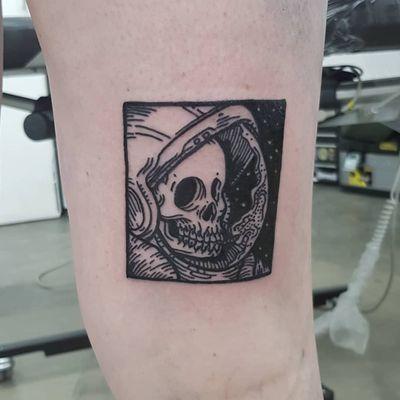 Tattoo by Matt Bailey #MattBailey #blackwork #engraving #etching #skull #death #reaper #skeleton #illustrative #astronaut #stars #space #galaxy #spaceman