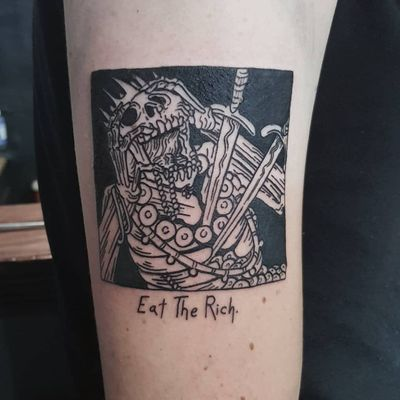 Tattoo by Matt Bailey #MattBailey #blackwork #engraving #etching #skull #death #reaper #skeleton #illustrative #linework #swords #text #quote #font #crown #gold