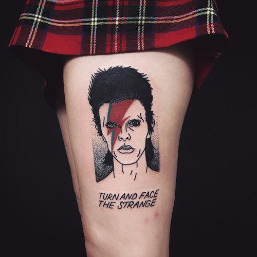 Tattoo by Matthew aka Cooley #Matthew #CooleyTattooer #Cooley #famousportraittattoo #famousportrait #portraittattoo #portrait #famous #song #quote #font #davidbowie #bowie #singer #lightningbolt #illustrative