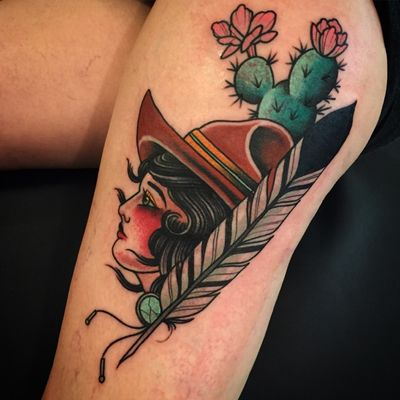 For appointments email: montestattooz@gmail.com #cowgirl #cactus