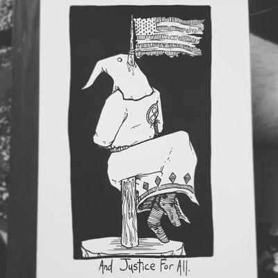 Illustration by Matt Bailey #MattBailey #blackwork #engraving #etching #skull #death #reaper #skeleton #illustrative #linework #text #quote #font #justice