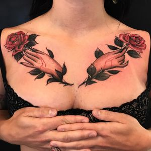 For bookings email: monteztattoos@gmail.com #rose #hand #chesttattoo