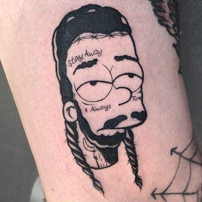 Tattoo by Kevin Hennessey #KevinHennessey #thesimpsons #Simpsons #cartoon #newschool #tvshow #tvshowtattoo #postmalone #rapper #blackwork #funny