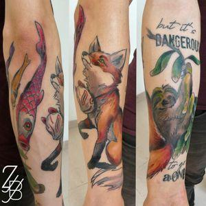 Et voilà la photo ! #dangerous #alone #sloth #slothtattoo #fox #foxtattoo #japanese #japanesetattoo #kite #koinobori #koinoboritattoo #zeldablackjeanjacques #zeldabjj #colmartattoo #frenchtattoo #tattoo #tatouage #tattooartist #tattoodesign #colortattoo #neotrad #neotradtattoo