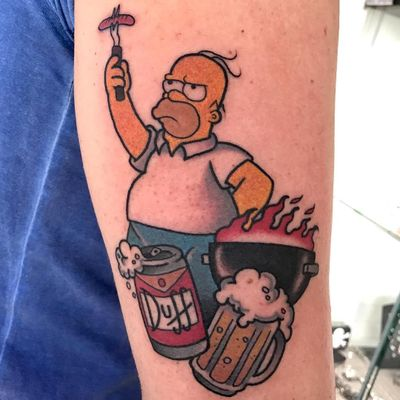 Tattoo by Francesca Superink aka inksuper #FrancescaSuperink #InkSuper #thesimpsons #Simpsons #cartoon #newschool #tvshow #tvshowtattoo #homersimpson #bbq #beer #grill #spatula #foodtattoo #food #hotdog