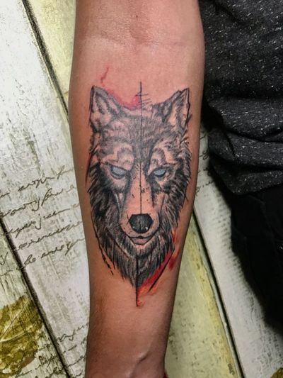 #wolftattoo #wolf #wolfhead #AbstractTattoos #gameofthronestattoo #gameofthrones #blueeye
