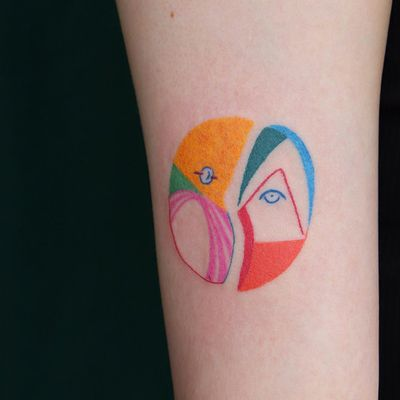 Tattoo by Gong Greem #GongGreem #favorite #favoritetattoos #color #watercolor #abstract #shapes #strange #surreal #hedwig #hedwigandtheangryinch #originoflove #love