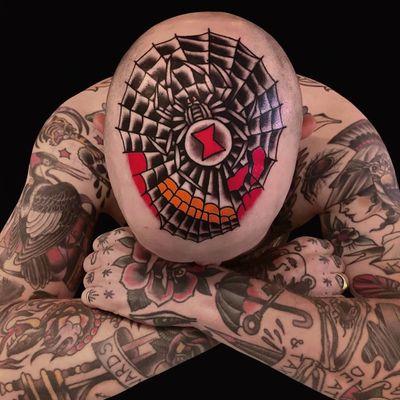 Tattoo by Austin Maples #AustinMaples #headtattoo #scalptattoo #scalp #head #face #color #blackandgrey #traditional #spider #spiderweb