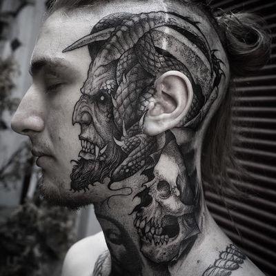 Tattoo by Rob Borbas #RobBorbas #headtattoo #scalptattoo #scalp #head #face #illustrative #darkart #demon #devil #creature #monster #snake #serpent #horns #hell #fangs #skull #death