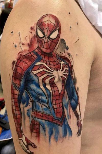 #spiderman #watercolor #SpiderManPS4 #SuperheroTattoos #halfsleeveinprogress