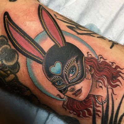 Tattoo by Christopher Conn Askew #ChristopherConnAskew #SekretCity #color #portrait #lady #ladyhead #bunny #mask #heart #pearls #cute #neotraditional #babe #love