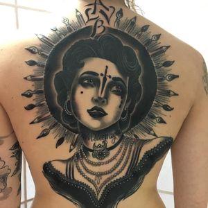 Tattoo by Christopher Conn Askew #ChristopherConnAskew #SekretCity #blackandgrey #portrait #lady #ladyhead #jewelry #pearls #ink #paintbrush #dagger #lettering #neotraditional