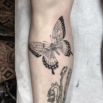 Tattoo by Anka #Anka #butterflytattoo #butterfly #insect #nature #wings #fly #pattern #fineline #linework #dotwork #illustrative #blackwork