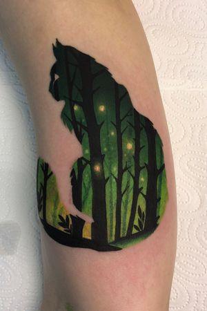 forest cat 🖤 #tattoo #tattooart #colortattoo #wroclawtattoo #bydgoszcztattoo #warsawtattoo #doubleexposuretattoo #foresttattoo