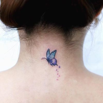 Tattoo by Nemo #Nemo #NemoTattoo #butterflytattoo #butterfly #insect #nature #wings #fly #pattern #stars #magic #watercolor #cute #small #minimal #tiny