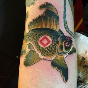 Tattoo by Christopher Conn Askew #ChristopherConnAskew #SekretCity #color #neotraditional #Japanese #fish #goldfish #oceanlife #ocean #jewels #pearls #symbol #nature