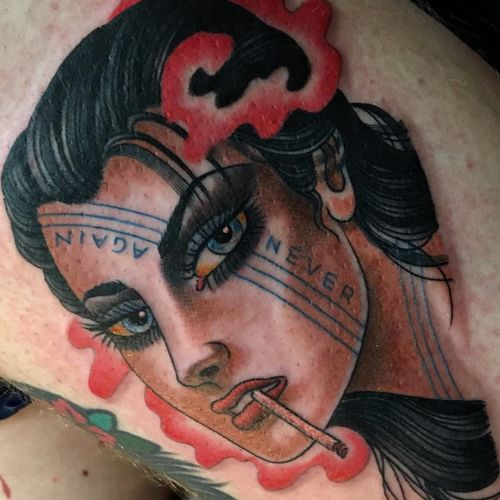 Tattoo by Christopher Conn Askew #ChristopherConnAskew #SekretCity #lady #ladyhead #portrait #color #neotraditional #traditional #smoke #cigarette #smoking #neveragain #text #quote #lettering #tattooedgirl