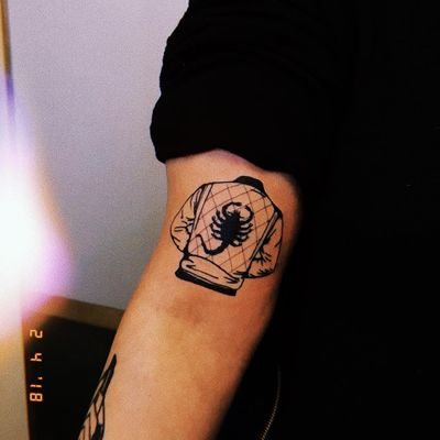 Tattoo by Demondance #DemonDance #scorpiontattoos #scorpion #arachnid #insect #Drive #movie #movietattoo #jacket