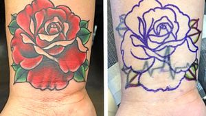 Rose cover up 🌹 #rose #rosetattoo #coverup #coveruptattoo #nashville #nashvilletattoo #colortattoo #floraltattoo #flowertattoo