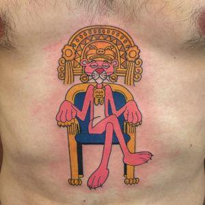 Pinca panther! #invisiblenyc #tattoos #traditionaltattoos #pinkpanthertattoo #nyc #Tattoodo