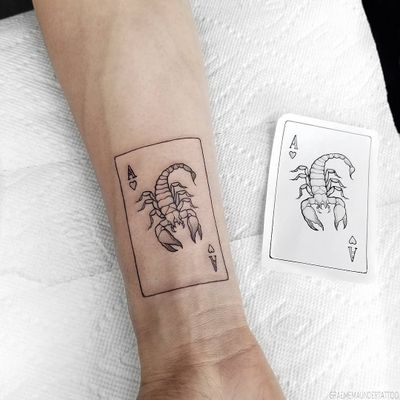 Tattoo by Graeme Maunder #graememaunder #scorpiontattoos #scorpion #arachnid #insect #card #ace #aces #hearts #playingcard #illustrative #linework