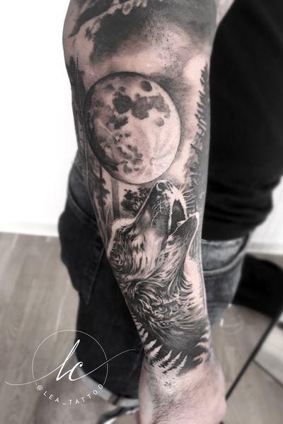 #realism #realistic #blackandgrey #greywash #wolf #howlingwolf #moon #nature #peace