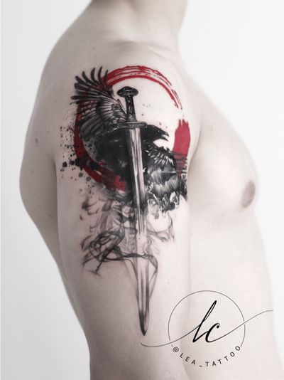 Polka trash inspired viking theme: the sword depicts Gram, which the hero Sigurd Fafnersbane killed the dragon Fafner with 🐉 If you are interested in a unique customdesigned project by me please don't hesitate to contact me: Leacramertattoo@gmail.com or fb.com/leacramertattoo 😊🙏 . . #tattoo #tattooideas #tattoodesign #design #idea #creative #creation #polkatrash #drawing #sword #raven #nordic #norse #norsemythology #nordicmythology #myth #mythology #viking #vikings #realistic #history
