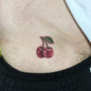 Tattoo by Shannon Perry #ShannonPerry #cherrytattoos #cherrytattoo #cherry #fruit #fruittattoo #foodtattoo #food #cute #realism #realistic #hyperrealism #shiny