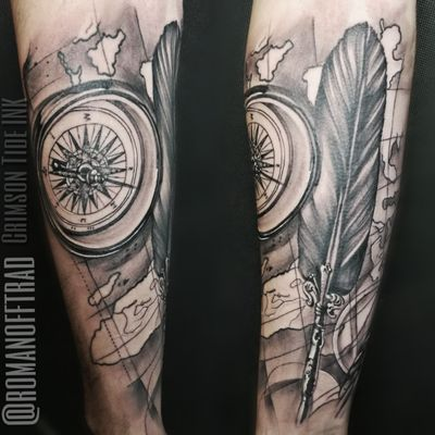 Classic combo - map, compass, feather Work by Alex Romanoff, our regular guest #londontattoo #londontattoos #compass #compasstattoo #blackandgreytattoo #blackandgrey #feathertattoo #feather #map #maptattoo #realistic #realistictattoo