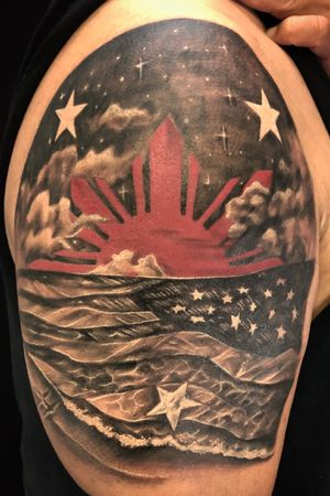 Filipino American all day! Proud to do this one. #filam #filipino #american #empireinks #bishoprotary #tribal #neotatmachines #instapic #inked #arte #stayblessed #motivated #goodvibes #instaartist #girlswithtattoos #tattoos #guyswithtattoos #ink