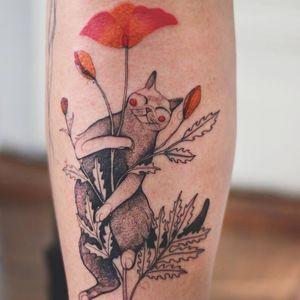 Tattoo by Joanna Świrska aka Dzo Lama #JoannaSwirska #DzoLama #illustrative #nature #sketch #linework #dotwork #cat #kitty #flowers #floral #leaves #plants #watercolor