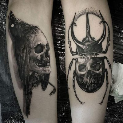 #crow #skull #bug #tattoo #tattooart #blxckink #blxwork #bodyart #blackAndWhite #blackandgreytattoo #blacktattoo #DarkArt