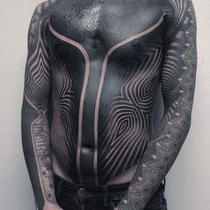 Tattoo by Odd Tattooer #OddTattooer #badasstattoo #blackwork #pattern #blackfill #sacredgeometry #opticalillusion #shapes #linework #blackout #surreal