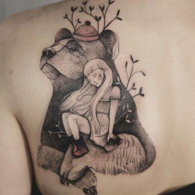 Tattoo by Joanna Świrska aka Dzo Lama #JoannaSwirska #DzoLama #illustrative #nature #sketch #linework #dotwork #bear #girl #leaves #friends #cute #watercolor