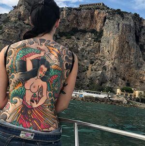 🔥Summer Backpiece🔥 #japanesetattoo #japan #irezumi #wabori #horimono #tattoo #tatuaggio #back #backpiece #color #dragon #ryu #babe #curves #fashion #summer #ink #inked #black #tiffany #red #great #cool #love #awesome #reclaimthedots #best #girl #tattoedgirl #inkedgirls