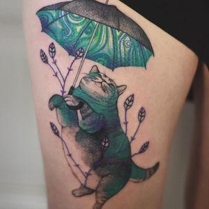 Tattoo by Joanna Świrska aka Dzo Lama #JoannaSwirska #DzoLama #illustrative #nature #sketch #linework #dotwork #cat #umbrella #leaves #watercolor
