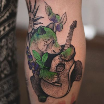 Tattoo by Joanna Świrska aka Dzo Lama #JoannaSwirska #DzoLama #illustrative #nature #sketch #linework #dotwork #bear #animal #guitar #berries #berry #leaves #plants #cute #watercolor