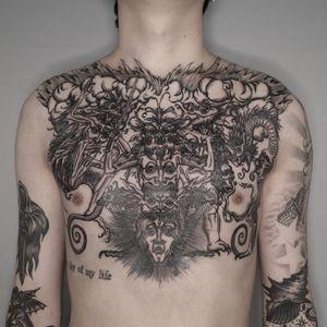 Tattoo by Odd Tattoo #OddTattoo #badasstattoo #blackandgrey #linework #detailed #medieval #demon #etching #engraving #monsters #dragon #mythicalcreature #magic #darkart #portrait #smoke #fire