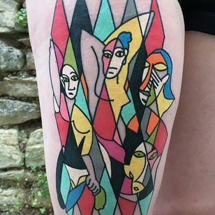 Ladies of Avignon Done at @mubodyarts for lovely @eve_r_art 💜 #tttism#contemporarytattooing#ssoo#tattoo_art_worldwide#stabmegod#thebestpainttattooartist#bratislava#slovakia#dnestetujem#acid#dmtart#picasso#dijon#picassomania#avignonladies#picassotattoo#picasso