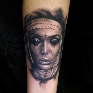 Dark eyes...dark soul...thanks for looking! . . ✖Like ✖Comment ✖Follow ☠☠☠🔛🔝🌎 . . #tattooing #tat #ink #tats #colorado #coloradotattoo #denver #black #art #inkig #sacred #geometry #303 #denverartist #inkoftheday #inkfreakz #tattoorealism #inked #blackandgrey #blackandgreytattoo #nuntattoo #nun #blackandgreyrealism