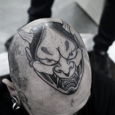 Tattoo by Oscar Hove #OscarHove #badasstattoo #blackwork #linework #Japanese #Hannya #mask #yokai #monster #demon #horns #scalptattoo #headtattoo #darkart