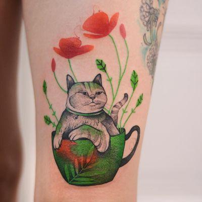 Tattoo by Joanna Świrska aka Dzo Lama #JoannaSwirska #DzoLama #illustrative #nature #sketch #linework #dotwork #cat #leaves #flowers #teacup #watercolor