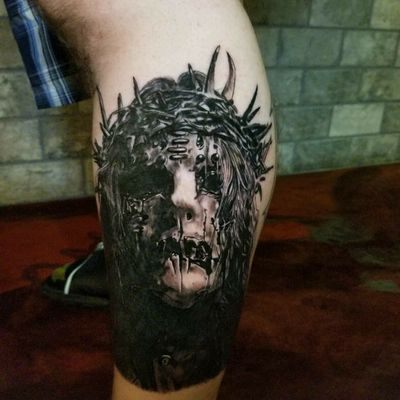 Had a blast with this one! for appts. email sanchezcustomink@gmail.com #blackandgray#blackandgrey #realism #mask #slipknot #slipknottattoos #1 #portrait #joeyjordison #jesus #legtattoos #realistic #realistictattoos #dark #darktattoos #arizona #az #phoenix #glendale #scottsdale #tempe #artist #artists #tattooartists #mesa #peoria #dsanchezink #danielsanchezart #danielsanchez