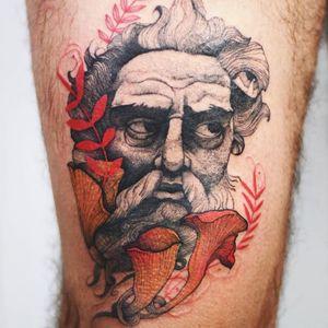 Tattoo by Joanna Świrska aka Dzo Lama #JoannaSwirska #DzoLama #illustrative #nature #sketch #linework #dotwork #portrait #sculpture #greek #roman #mushrooms #leaves #plants #watercolor