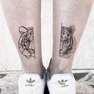 """Half""  -  INSTAGRAM:  _mfox     #art #tattoo #ink #inked #tiger #tigertattoo #italy #geometric #geometrictattoo"