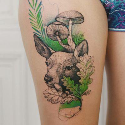 Tattoo by Joanna Świrska aka Dzo Lama #JoannaSwirska #DzoLama #illustrative #nature #sketch #linework #dotwork #deer #fawn #mushrooms #leaves #plants #watercolor