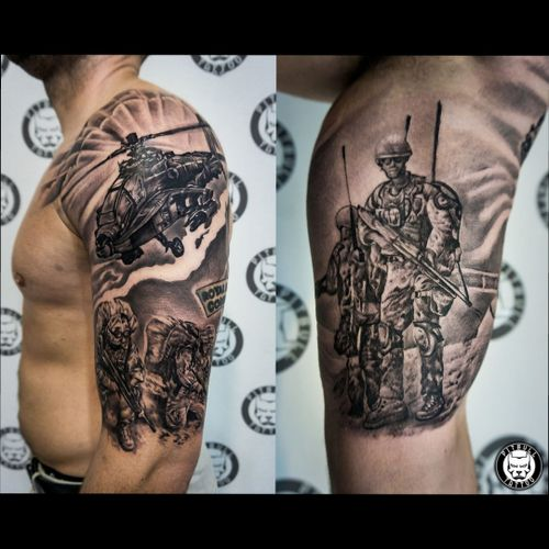 """Black and grey realistic """"Army"""" tattoo. Upper arm sleeve. #blackandgrey #realistic #armsleeve #sleeve #armytattoo #army #military #realism #patong #phuket #thailand"""