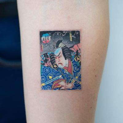 Tattoo by Zihee #Zihee #Seoultattoos #Seoul #KoreanArtist #color #ukiyoe #woodblockprint #print #samurai #samuraisword #sword #pattern #warrior #cherryblossom #flowers #floral #kanji #portrait #Japanese