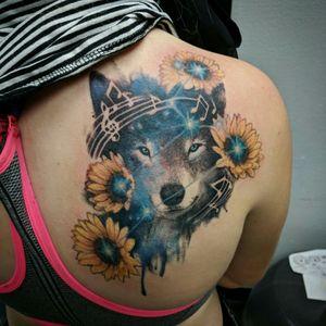 Wolf constellation leo sunflower music shoulder blade full color