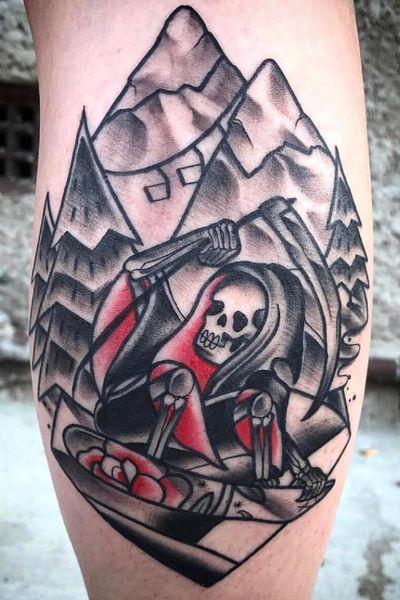 #kevinhennesseytattoo #neotraditional #neotraditionaltattoo #neotrad #art #bodyart #snow #skulltattoo #skull #landscape #reaper #black